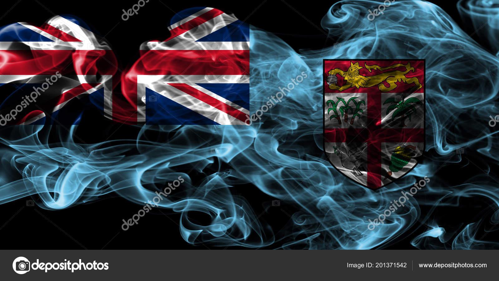 Fiji Smoke Flag Black Background Stock Photo