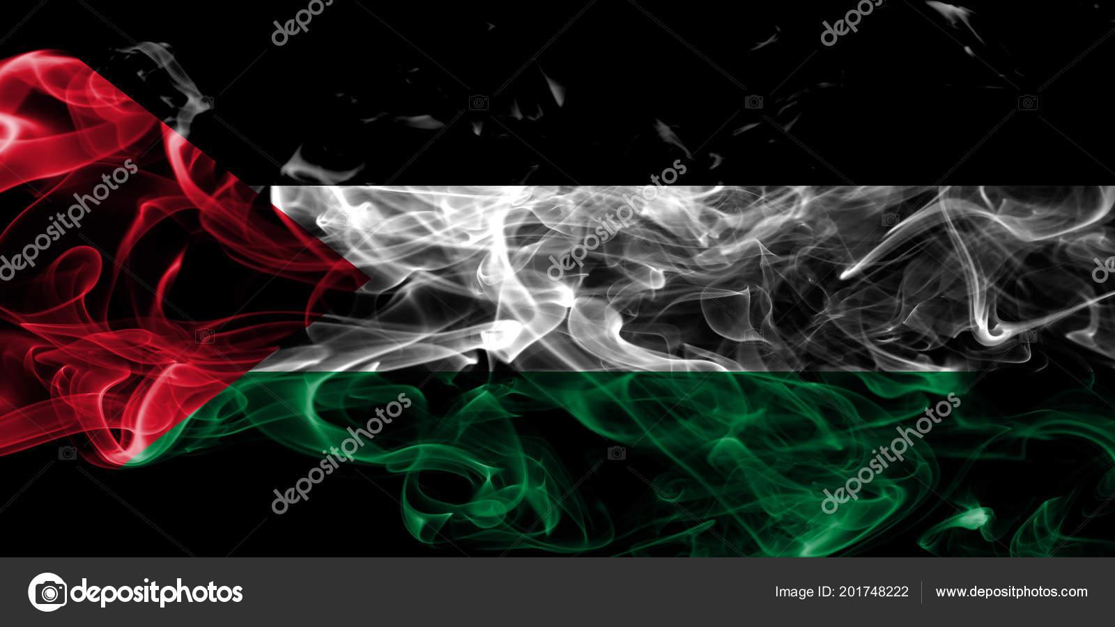 Palestine Smoke Flag Black Background Stock Photo Vladem