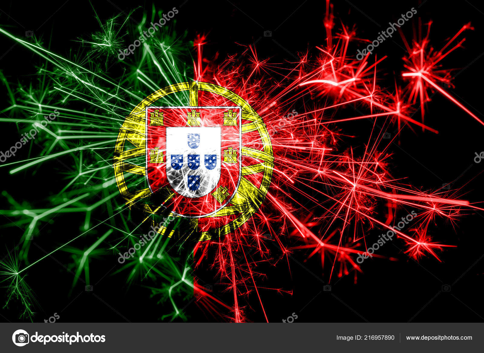 Christmas In Portugal 2019.Portugal Fireworks Sparkling Flag New Year 2019 Christmas