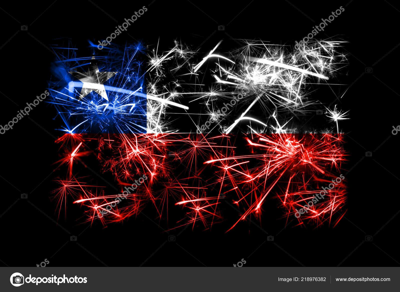 Chile Los Fuegos Artificiales Brillantes Bandera Concepto Partido