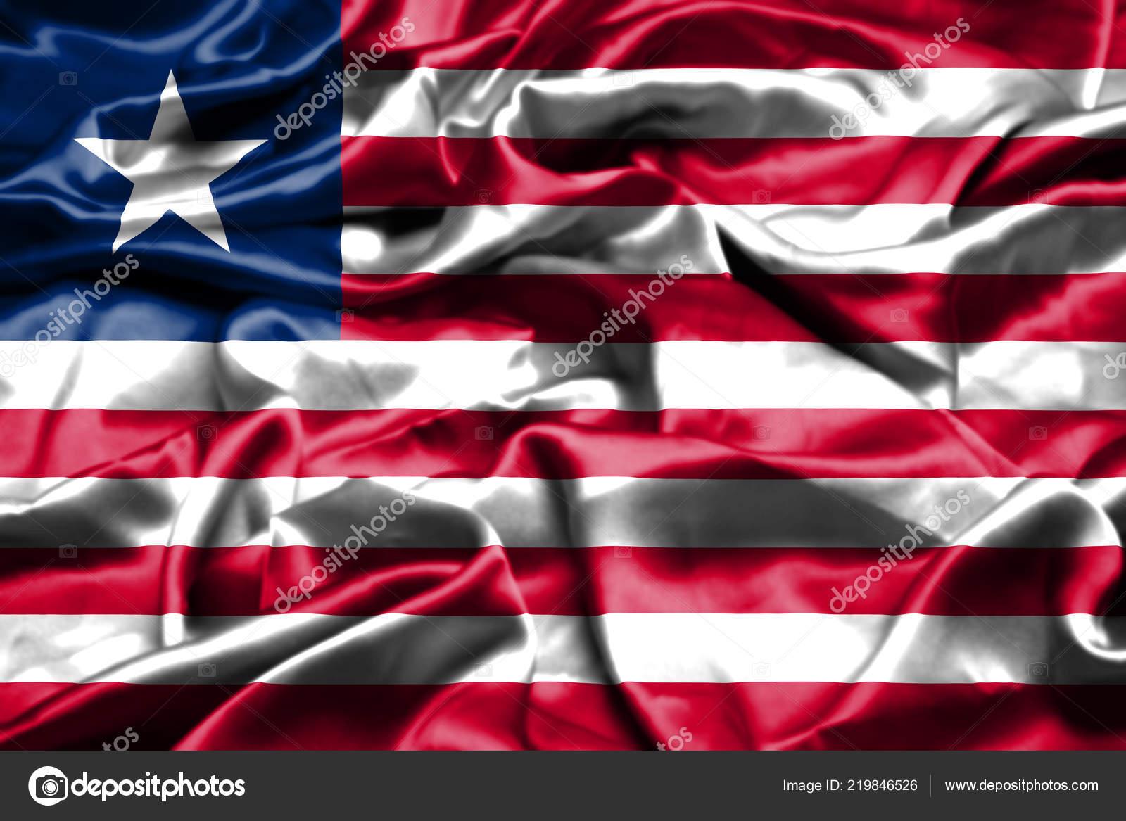 Liberia Flag Waving Wind — Stock Photo © vladem #219846526