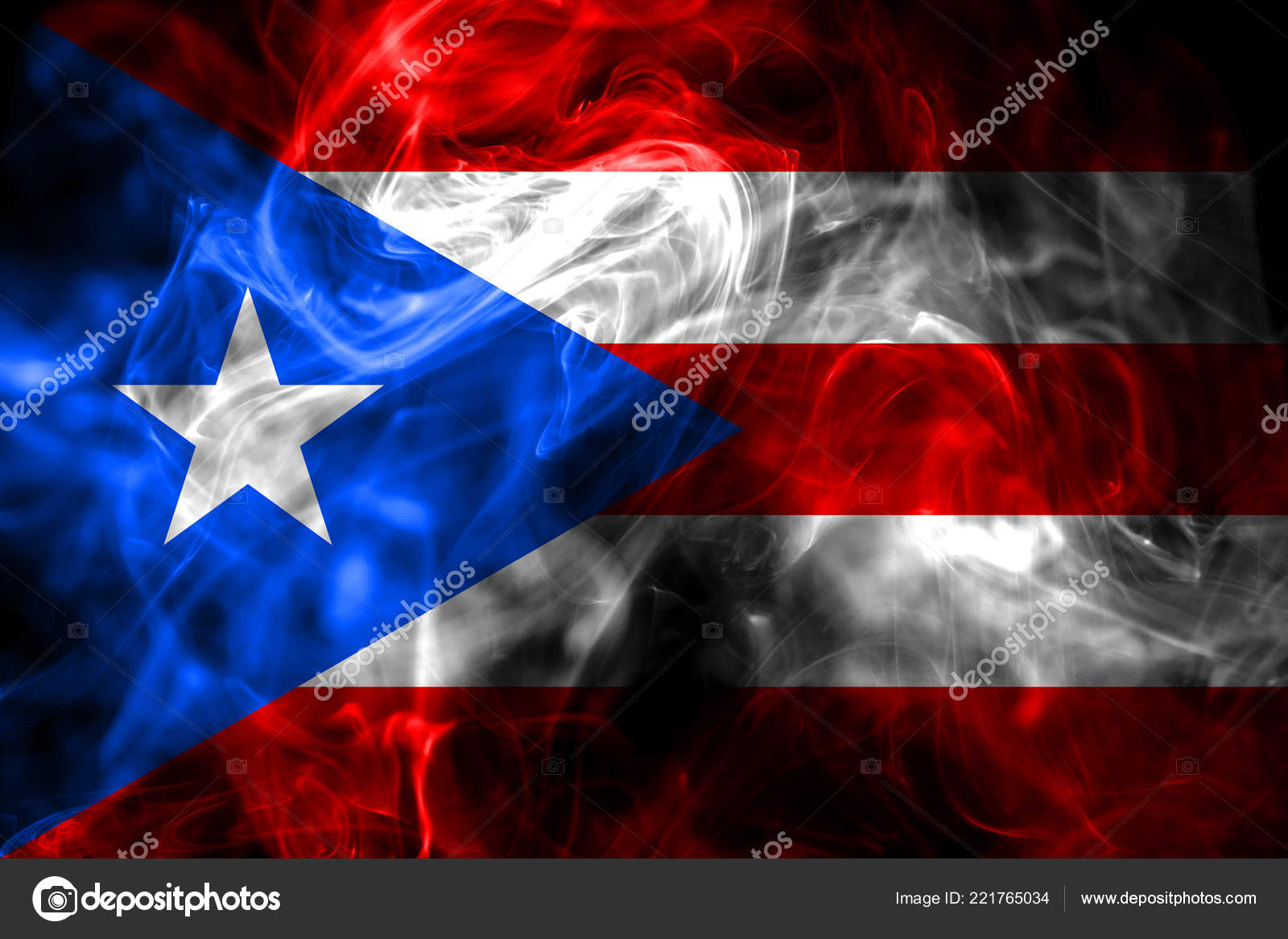 National Flag Puerto Rico Made Colored Smoke Isolated Black