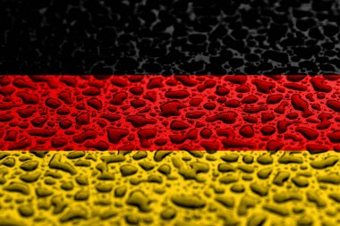 National flag of Germany made of water drops. Background forecast concept.