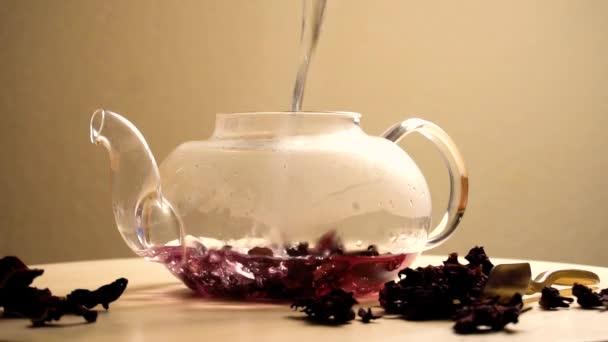 Puring vody v konvici s červenými karkade čaj