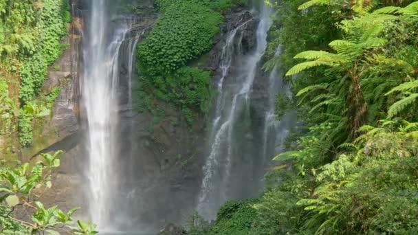 Vodopády a svěží zelené flóry v Bali, Indonésie. Posouvání výstřel, Uhd