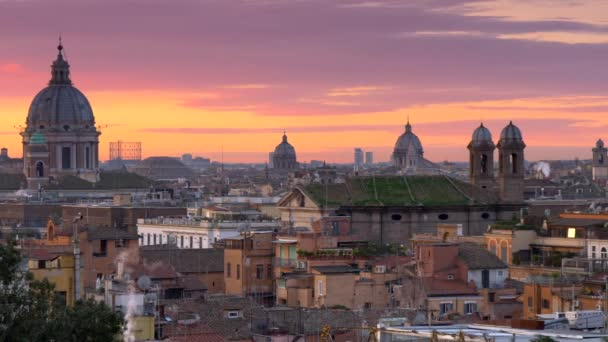 Sunrise In Winter Rome Italy Panoramic Shot Of Beautiful Rome From Terrazza Del Pincio With Red And Vanila Morning Sky Background