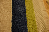 Colorful carpet samples on exhibition for retail