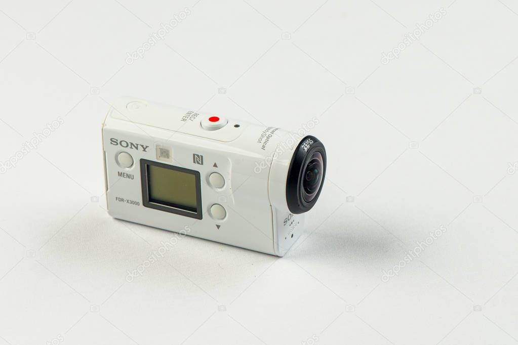 Russia. Khabarovsk. April 2018: Sony fdrx 3000 Action camera on white background