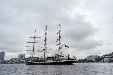 Vladivostok, Primorsky Krai . Russia. June 17, 2019: sailing ship Pallada in the port of Vladivostok