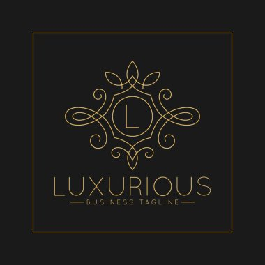 Luxurious Letter L Logo with classic line art ornament style