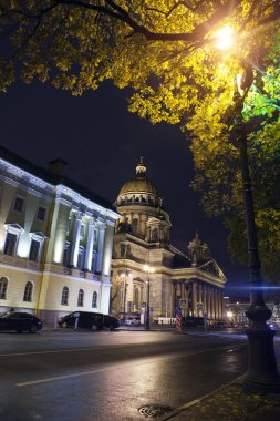 Russia.night street in the downtown and St. Isaac's (Isaakievsky) Cathedral  in St. Petersbur