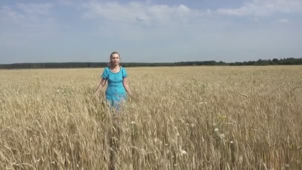 The young slender woman with a long fair hair goes across the field of ripe wheat to sunny day. Dolly shot