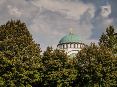 Temple of Saint Sava, view on largest Serbian Orthodox church dedicated to Saint Sava founder of the Serbian Orthodox Church, located in Belgrade, Serbia. Day light , cloudy sky in background