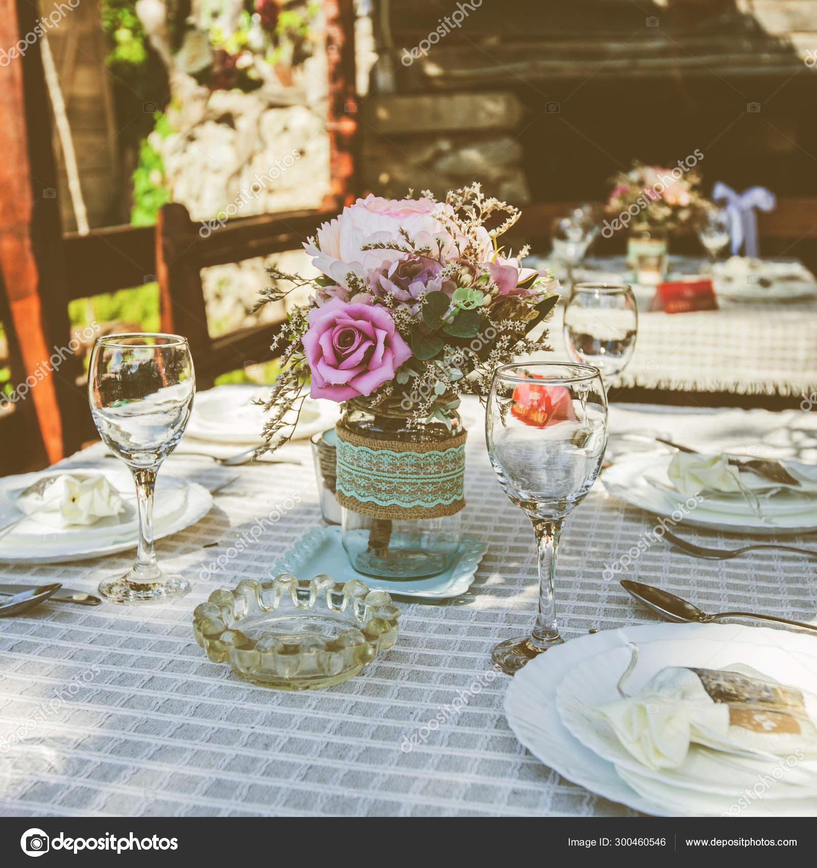 Rustic Style Wedding Table Setting In Restaurant Stock Photo C Mitastockimages 300460546