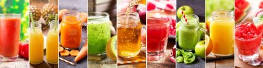 Food collage of various fresh juice stock vector