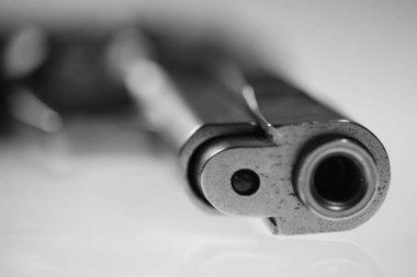 Macro shot of gun on white background stock vector