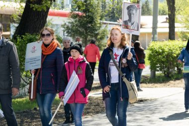 PETROPAVLOVSK MAY 9, 2016: residents in memorable procession
