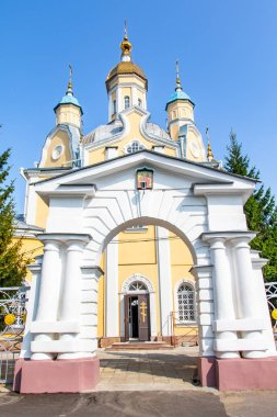 Petropavlovsk, Kazakhstan - August 23, 2019: Moscow Patriarchate of the Republic of Kazakhstan. Petropavlovsk-Bulaev diocese. Cathedral in honor of the Orthodox apostles Peter and Paul.