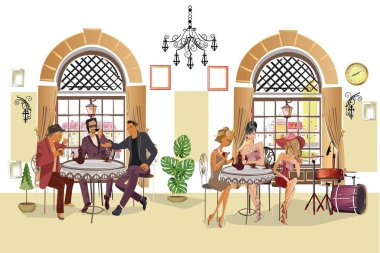 Series of people drinking coffee inside romantic caf, jazz musicians, waiters serve the tables. Hand drawn illustrations.