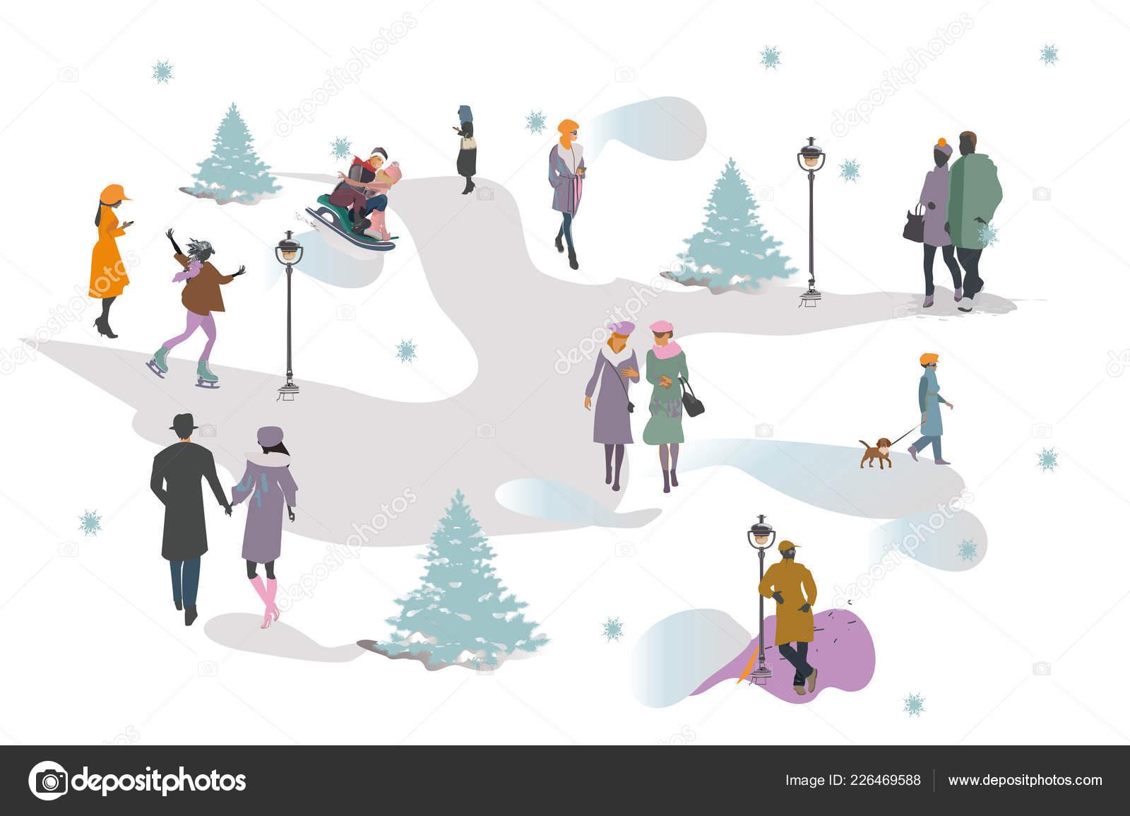 3117cfe35 Set People Having Rest Park Winter Active Leisure Outdoor Activities ...