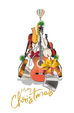 Winter music. Abstract guitar decorated with snowflakes and notes. Christmas tree. Vector illustration.