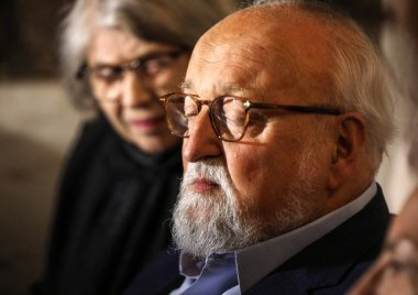 Cracow, Poland - June 26, 2018: The Polish composer Krzysztof Penderecki during the ceremony of putting a handprint on a memorial plaque at the legendary  Piwnica pod Baranami in Krakow. Poland