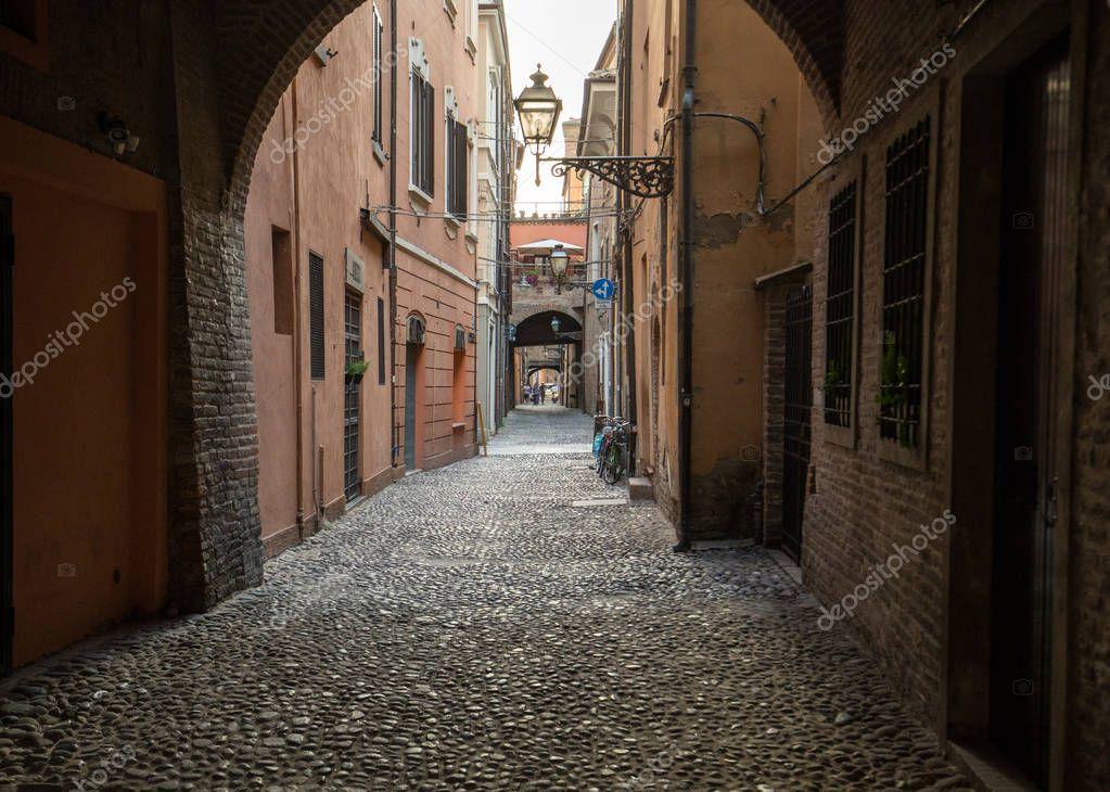 Фотообои Ferrara, Italy - June 10, 2017: Via delle Volte of Ferrara in the medieval quarter. Emilia-Romagna. Italy.