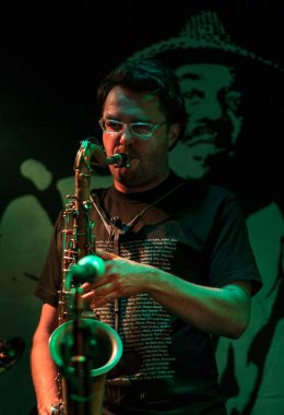 Cracow, Poland - July 5 2018: Piotr Wojtasik Quartet live at the Summer Jazz Festival in Krakow, is the 23rd edition of the festival, which will host over 150 concerts and will perform over 500 jazz musicians
