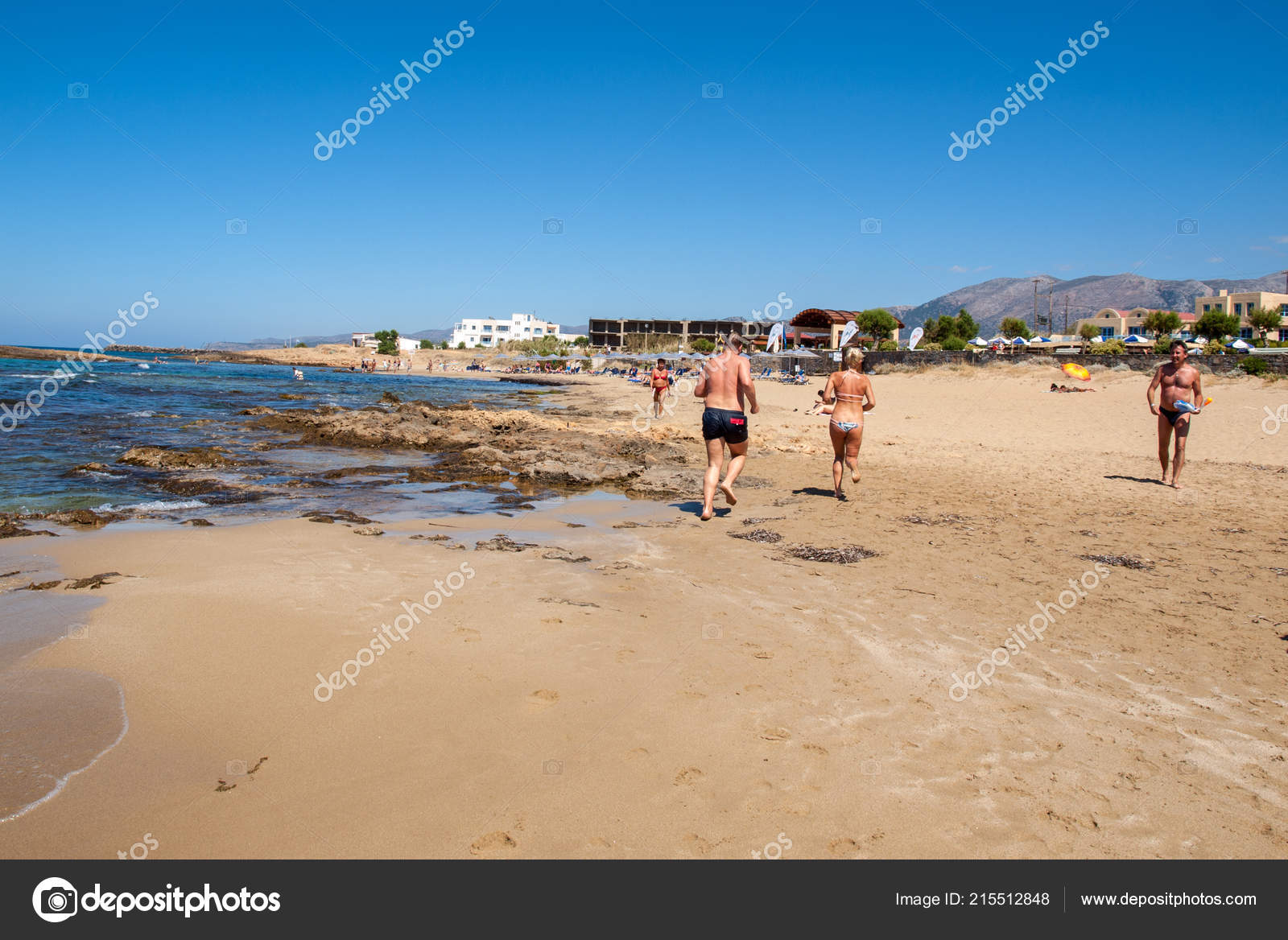 Malia Crete Greece July 2018 People Resting Sunny Day Beach