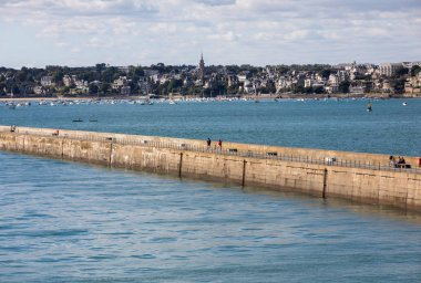 St Malo, France - September 14, 2018: View from the ramparts at the pier Mole des Noire in Saint Malo, Brittany, France