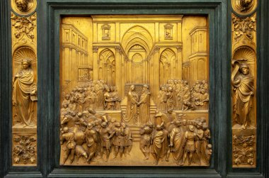 Baptistery - Florence . The door of paradise. Panel of the Door of Paradise - Solomon and the queen of Sheba