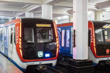 Moscow, Russia - October 23, 2018: Modern metro train on subway station. Moscow underground