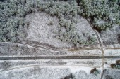 Fényképek vasúti snowy erdővel, Magyarország