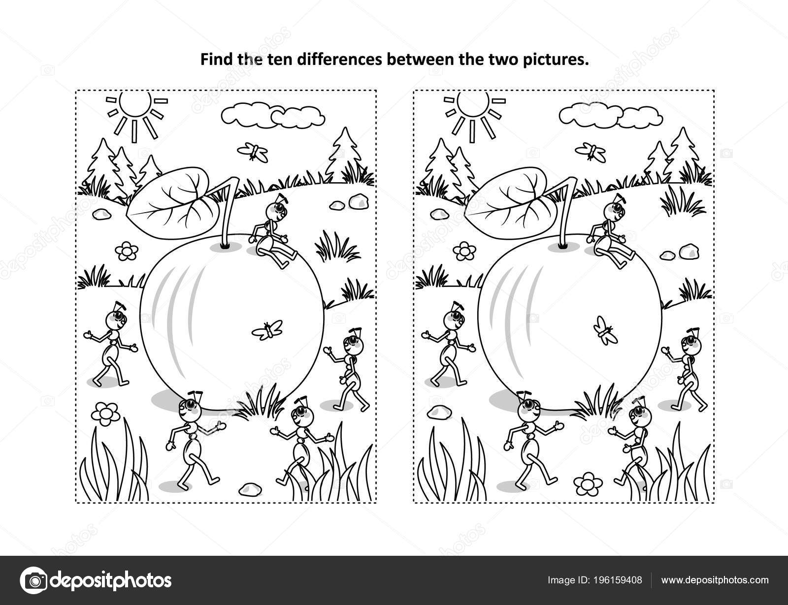 Find Ten Differences Picture Puzzle Coloring Page Ripe Apple Lying Vector Image By C Ratselmeister Vector Stock 196159408