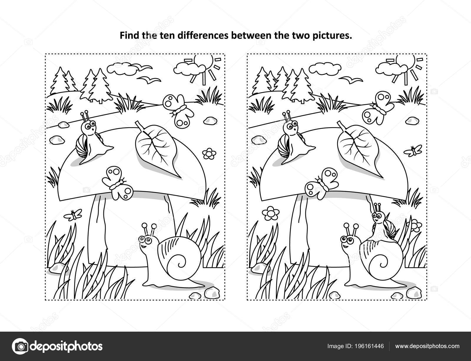 Find Ten Differences Picture Puzzle Coloring Page Big Yummy