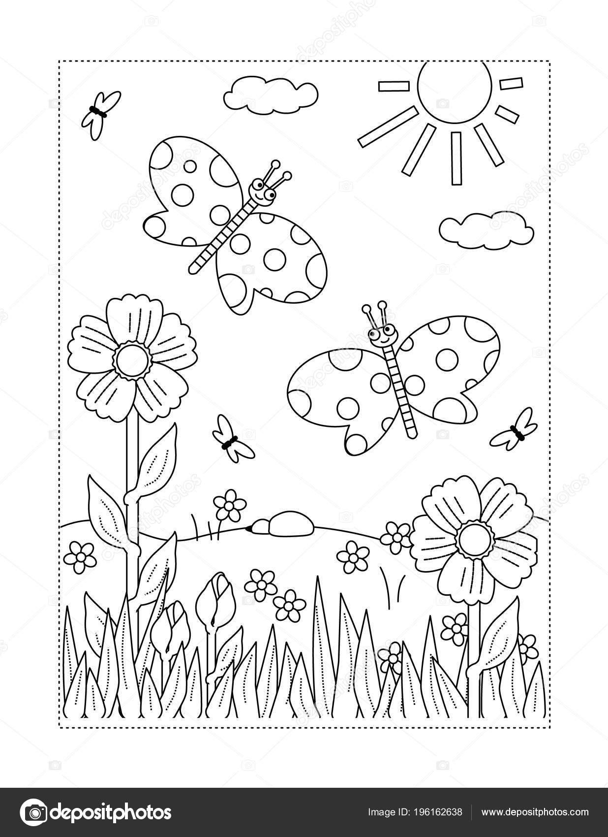 lente zomer vreugde thema kleurplaat met vlinders bloemen
