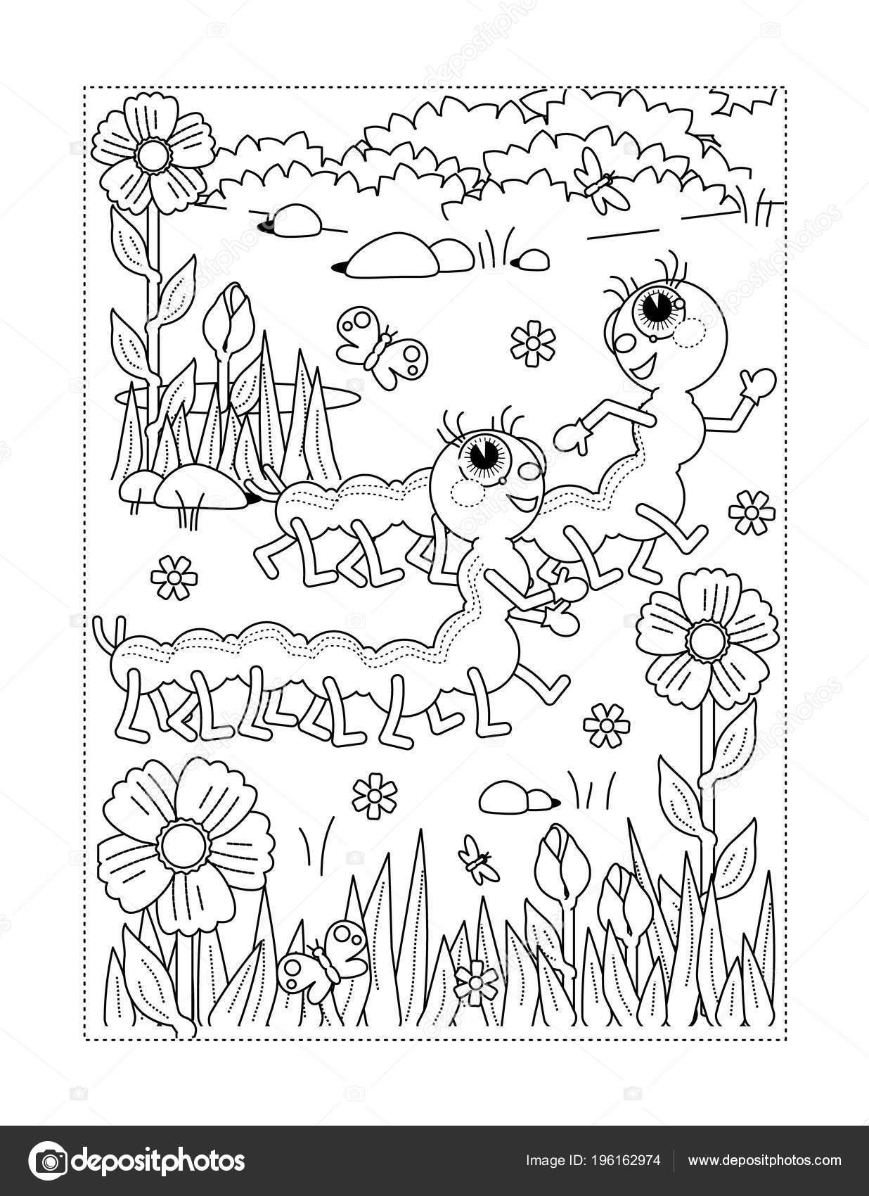 Bahar Yaz Sevinç Temalı Boyama Sayfası Tırtıllar çiçek çimen Stok