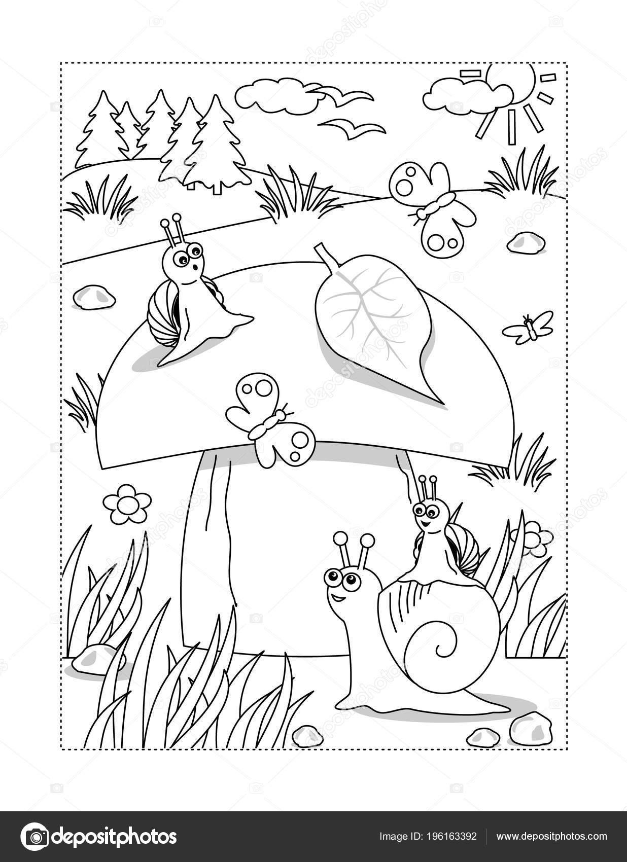 Coloriage Escargot Automne.Ete Automne Page Coloriage Sur Theme Joie Avec Gros Champignon