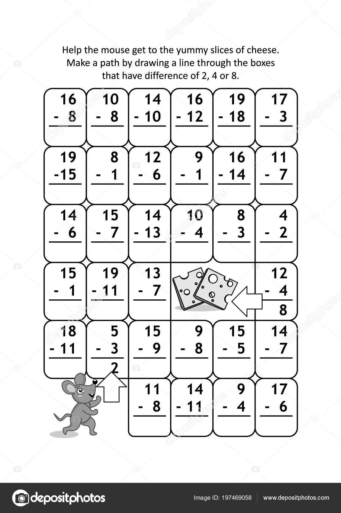 Mathe Labyrinth Mit Subtraktionsaufgaben Die Maus Die Leckeren ...
