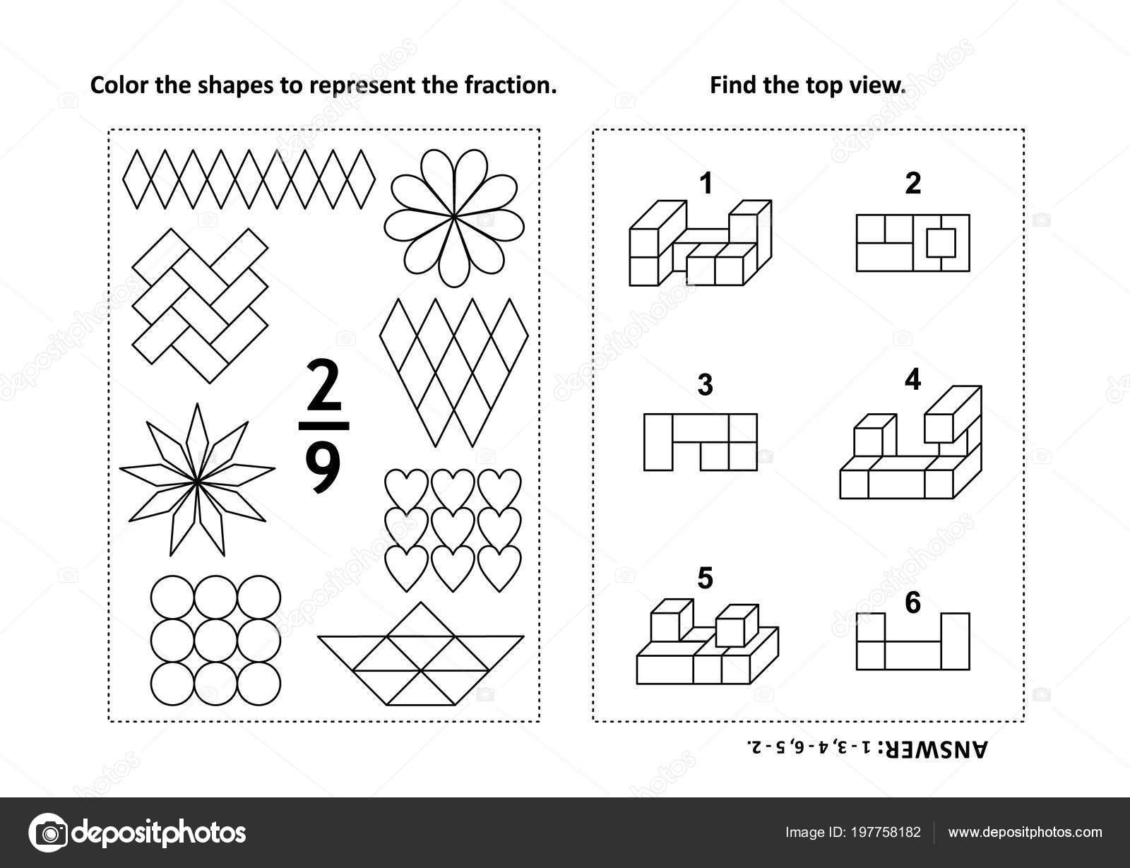 Iki Görsel Matematik Bulmacalar Boyama Sayfaları Kesir Temsil Için