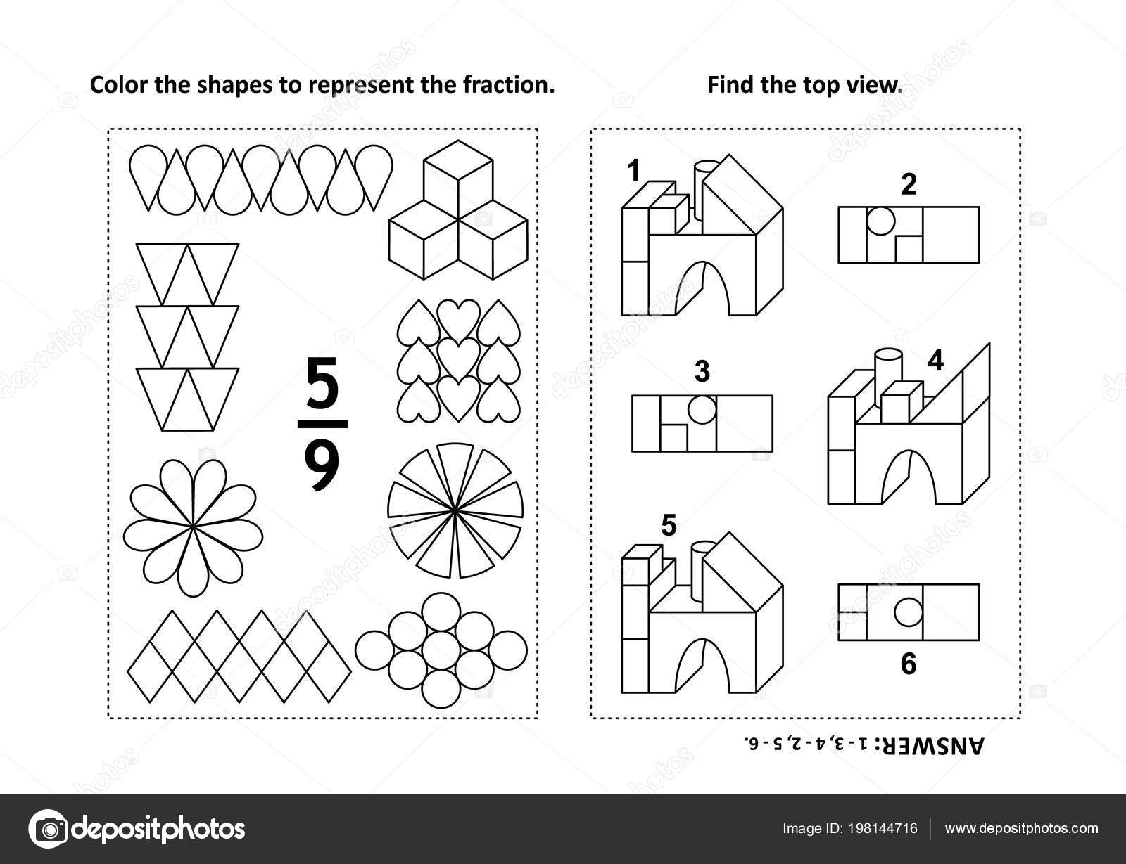 Two Visual Math Puzzles Coloring Pages Color Shapes Represent ...