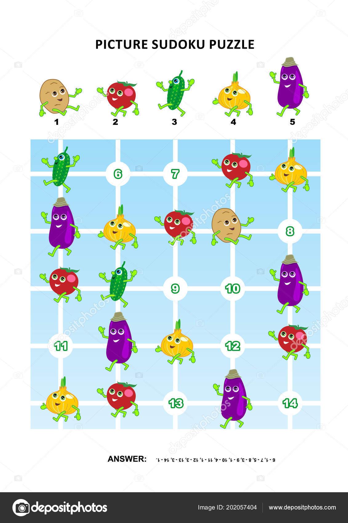 Picture Sudoku Puzzle 5X5 One Block Vegetables Potato Tomato ...