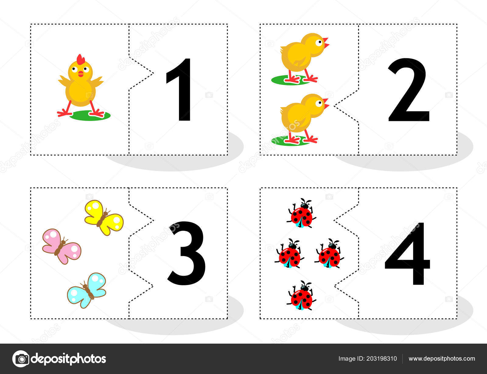 Learn Counting Part Puzzle Cards Cut Out Play Chicks Butterflies Stock Vector
