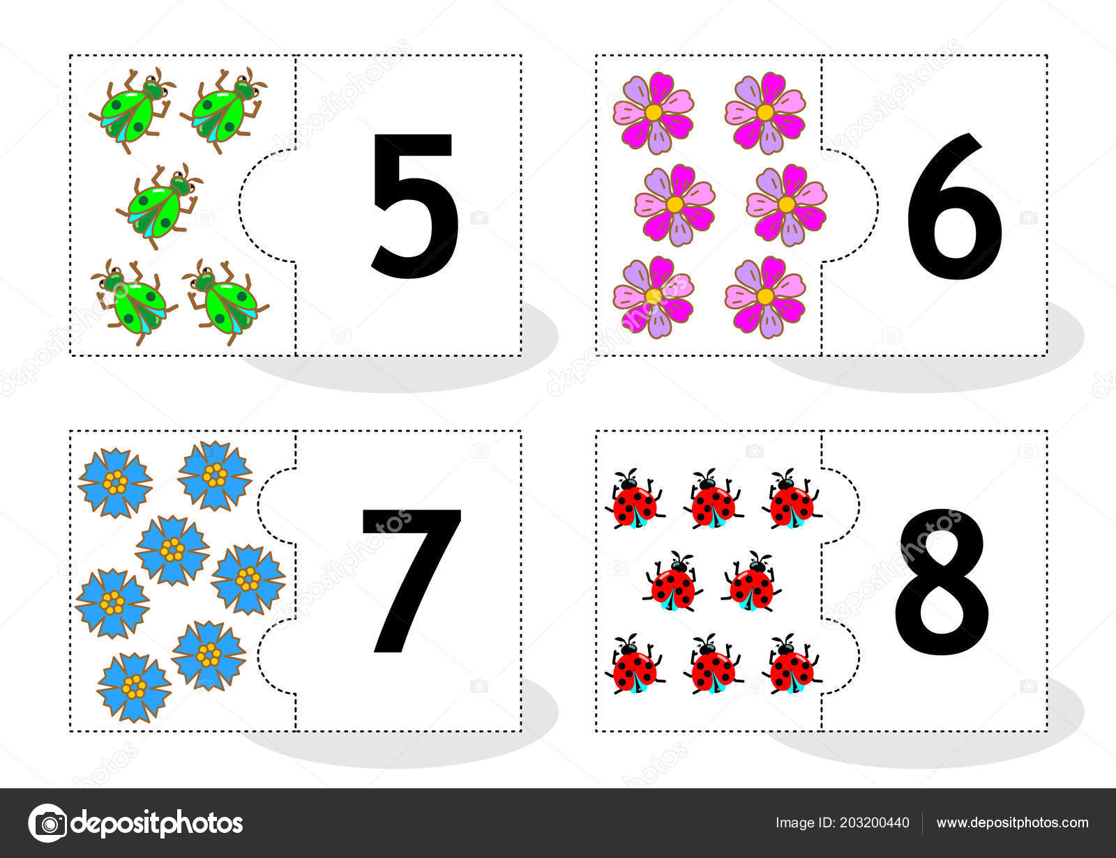 Learn Counting Part Puzzle Cards Cut Out Play Beetles Flowers Stockvektor
