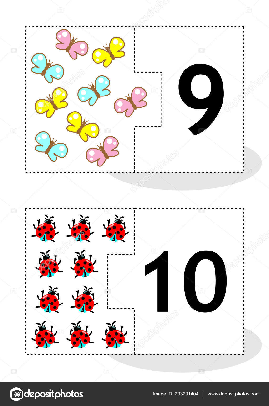 Learn Counting Part Puzzle Cards Cut Out Play Butterflies Ladybugs Stockvektor