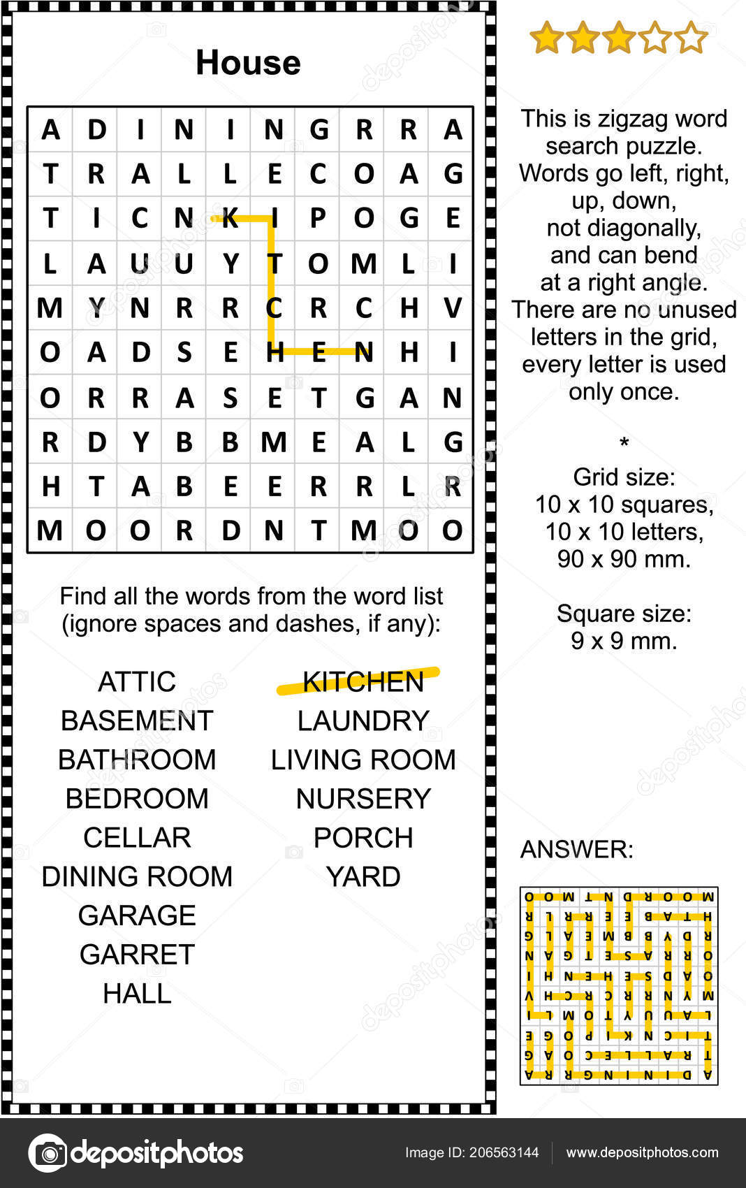 House Themed Zigzag Word Search Puzzle Suitable Both Kids Adults ...