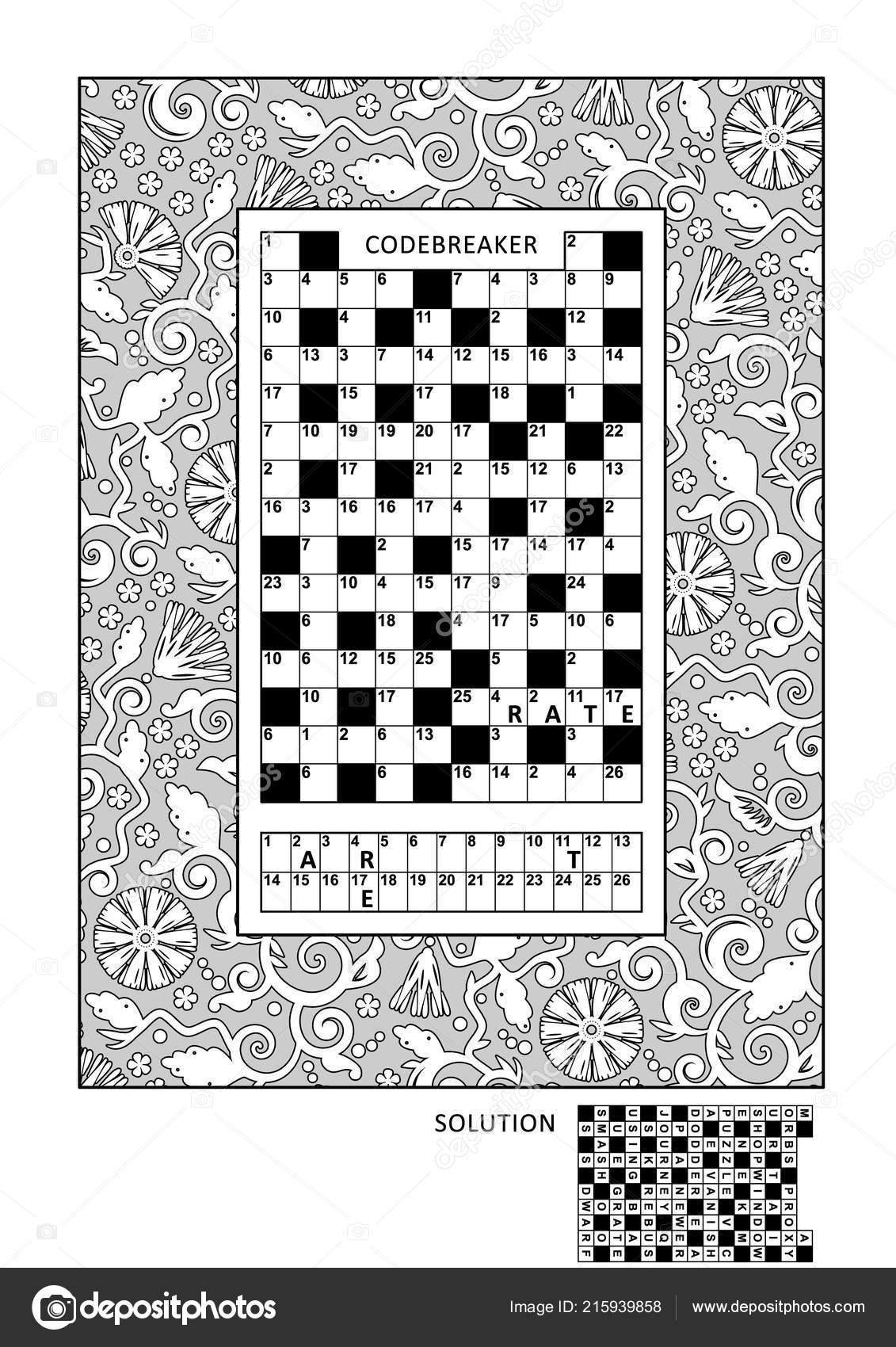 Puzzle Und Coloring Seite Aktivitäten Für Erwachsene Mit Codebreaker ...