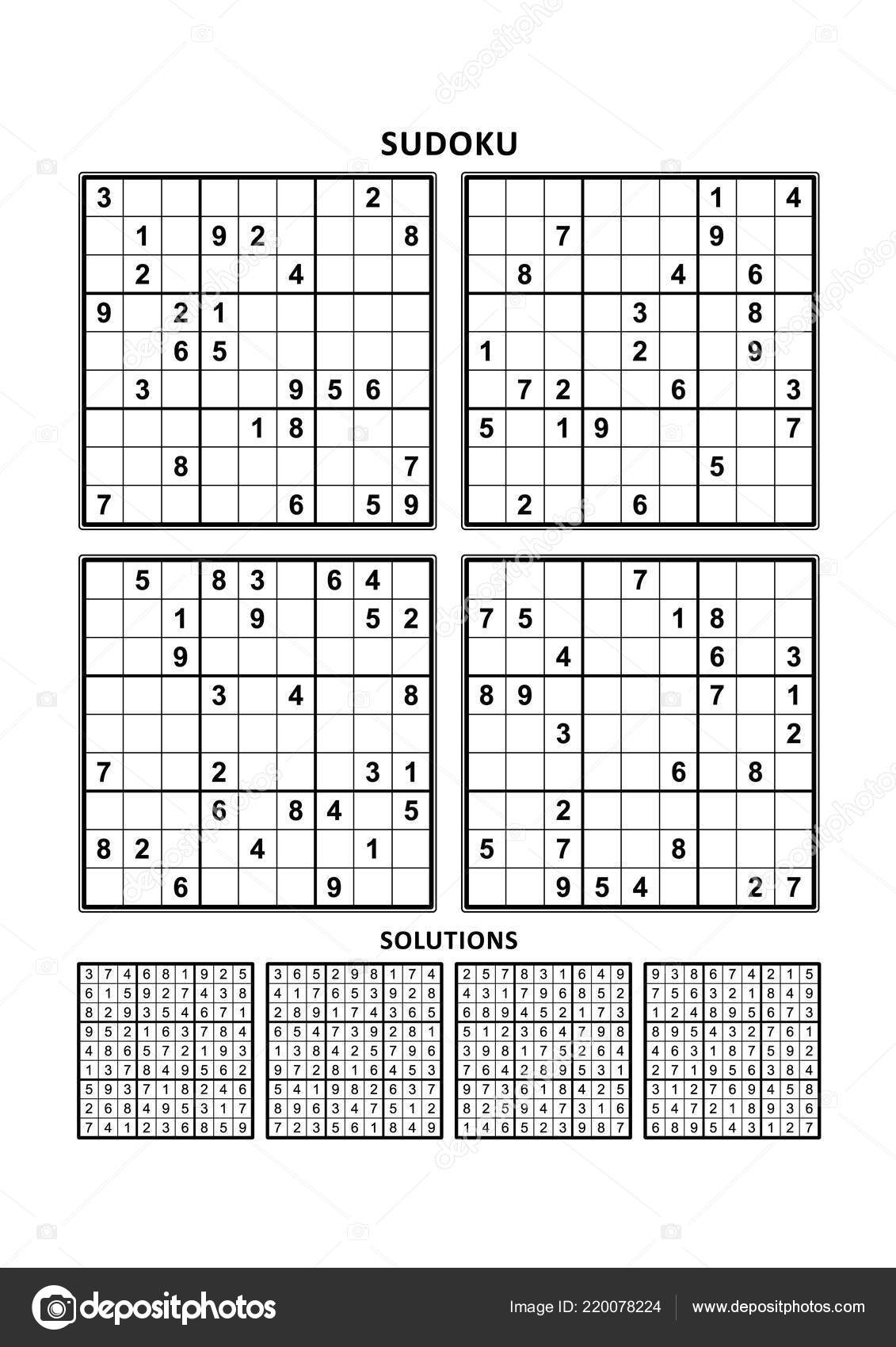 Four Sudoku Puzzles Comfortable Easy Yet Very Easy Level Letter