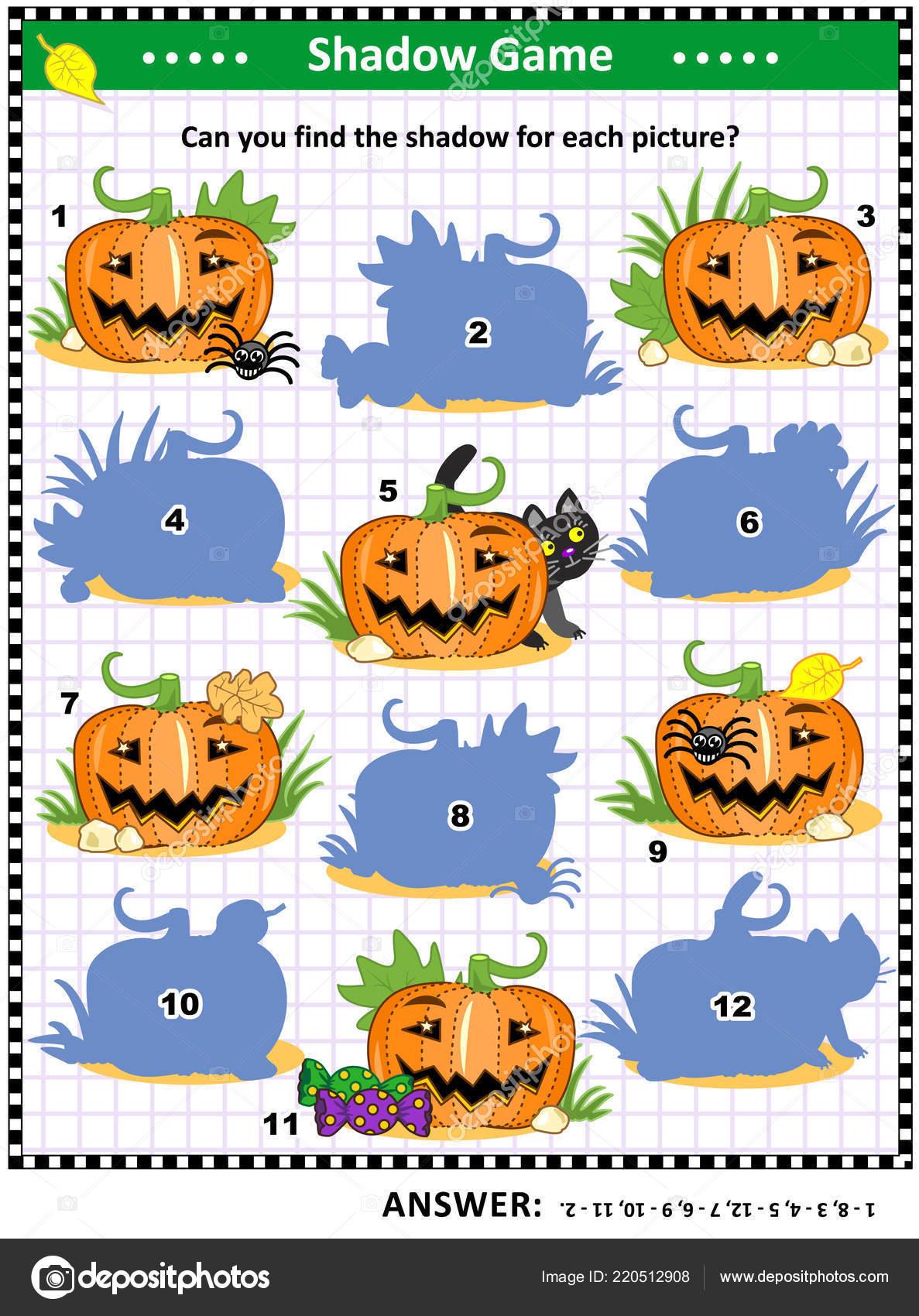 Raadsels Halloween.Halloween Thema Visuele Puzzel Foto Raadsel Met Pompoenen