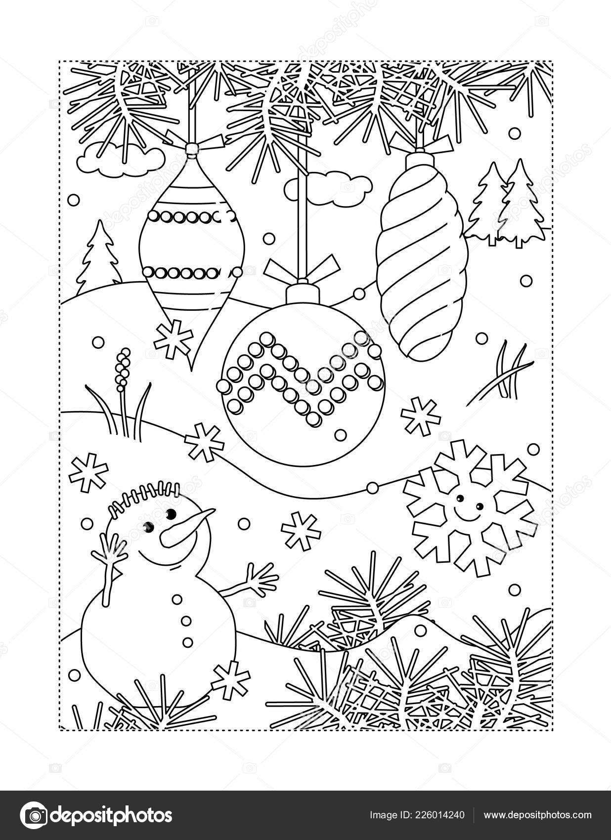 Inverno Vacanze Gioia Tema Colorare Con Decorazioni Albero Natale